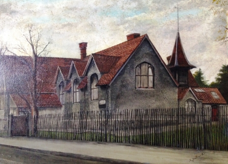 A painting of the original school